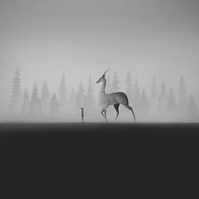 siyah-beyaz-sulu-boya-illustrasyonlari-artmanik-2