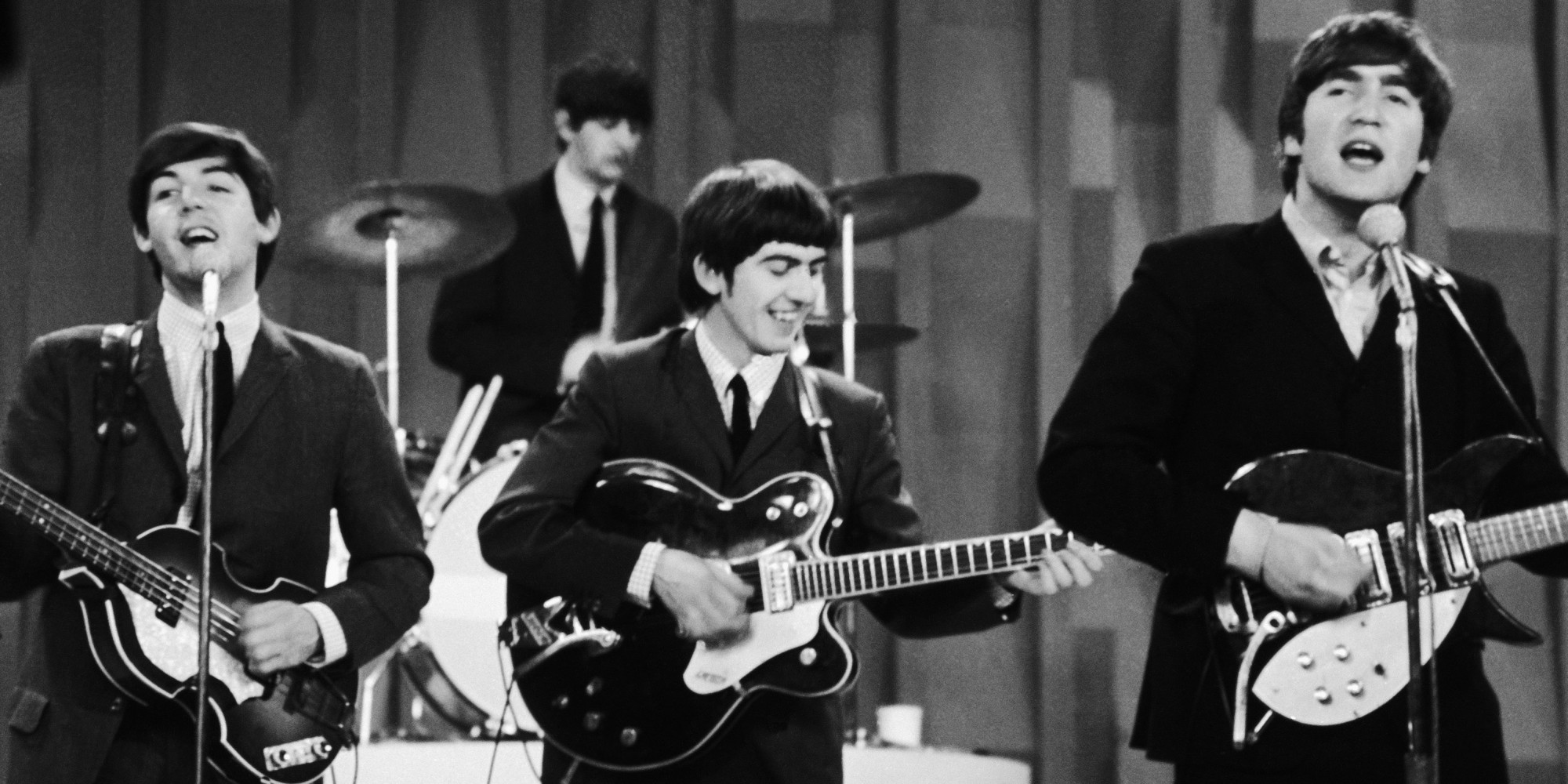 "The Beatles are shown during their performance on the ""Ed Sullivan Show,"" Feb. 10, 1964, their first appearance on American television. From left to right: bassist Paul McCartney; drummer Ringo Starr; guitarist George Harrison; guitarist John Lennon. (AP Photo/Dan Grossi)"